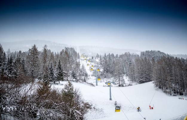 Bela paisagem de teleférico em encosta de montanha coberta por pinheiros