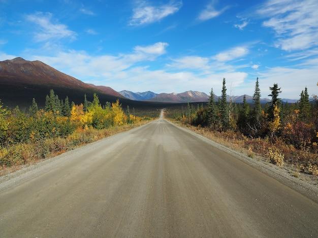 Bela paisagem de um caminho cercado por vegetação com altas montanhas rochosas ao fundo