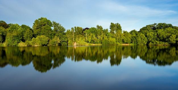 Bela paisagem de um lago com o reflexo das árvores verdes circundantes