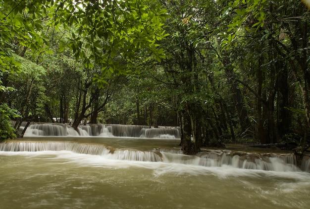 Bela paisagem de uma poderosa cachoeira fluindo em um rio em uma floresta