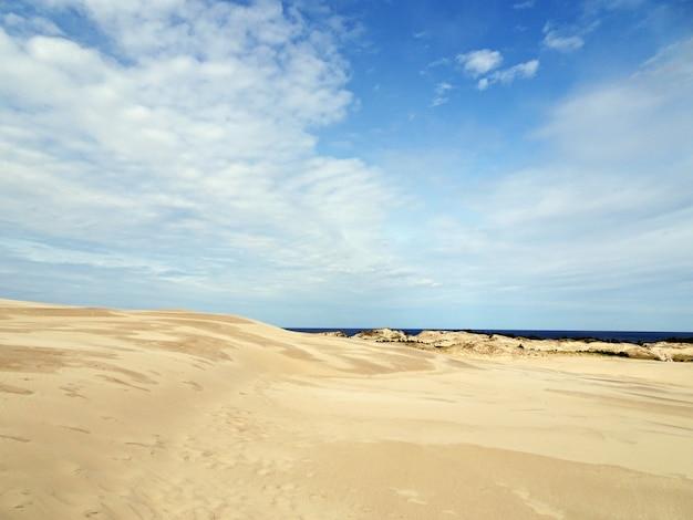 Bela paisagem de uma praia arenosa sob um céu nublado em leba, polônia