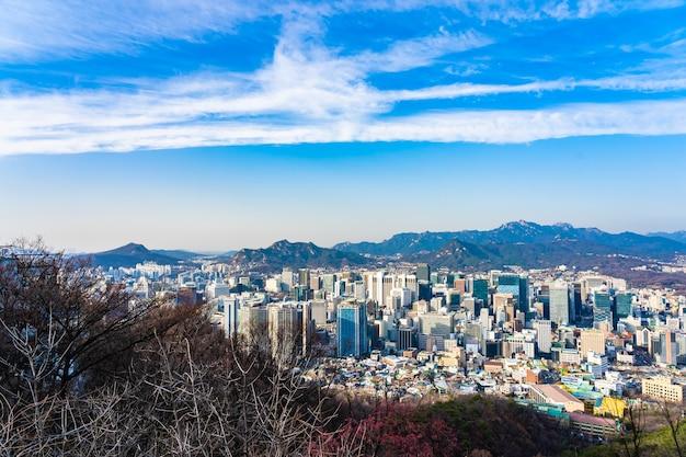 Bela paisagem e paisagem urbana da cidade de seul