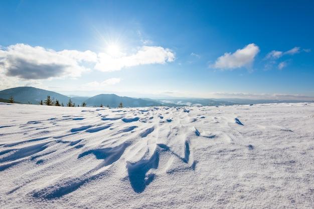 Bela paisagem ensolarada de pinheiros fofos crescendo entre montes de neve branca contra uma superfície de colinas e uma floresta com nuvens brancas e um céu azul em um dia gelado