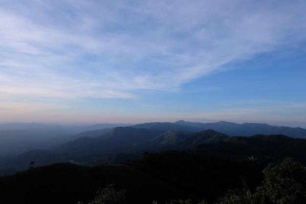 Bela paisagem montanhosa, com picos de montanhas cobertas de floresta e um céu nublado