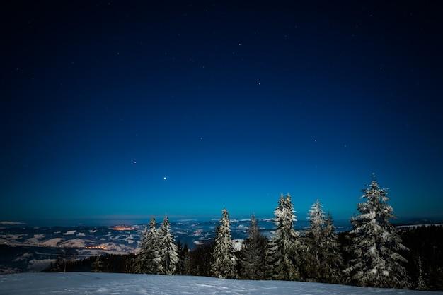 Bela paisagem pitoresca de pinheiros altos e delgados, cobertos de neve crescendo em uma colina entre os montes de neve em uma noite estrelada clara de inverno gelado. conceito de curtir a natureza