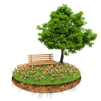 Bela pequena ilha com grama e árvore levitando