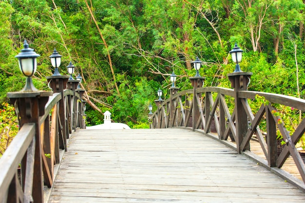 Bela ponte de madeira sobre o rio.
