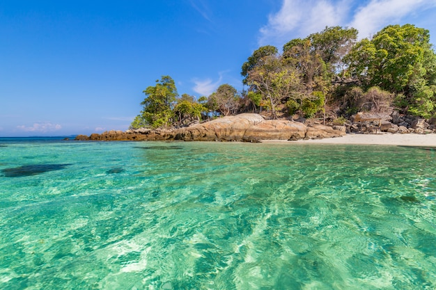 Bela praia de areia branca com árvore no mar tropical na ilha de lipe tailândia