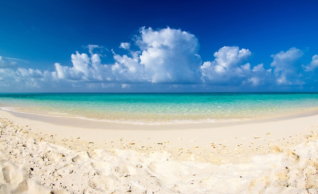 Bela praia do mar azul do caribe