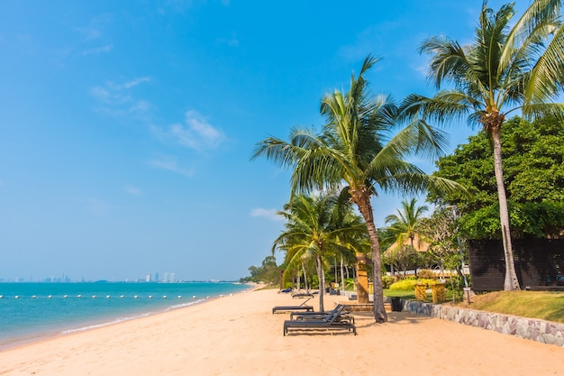 Bela praia e mar com palmeira