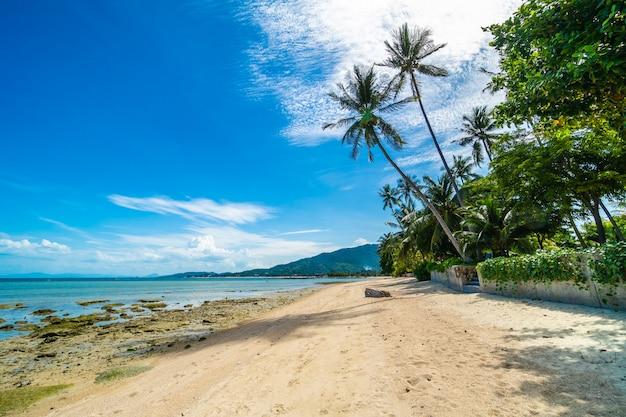 Bela praia tropical mar e areia com coqueiro no céu azul e nuvem branca