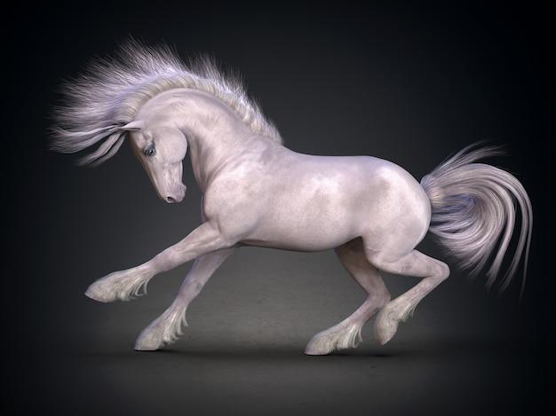 Bela renderização 3d do cavalo branco