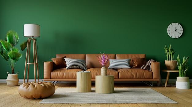 Bela sala de estar com sofá de couro no fundo verde da parede vazia, renderização em 3d