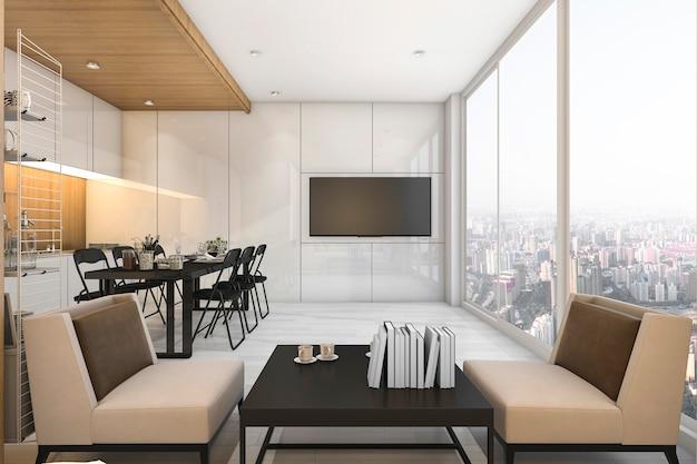 Bela vista cozinha e sala de estar em condomínio