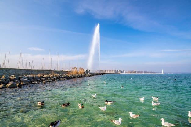 Bela vista da fonte de jato de água no lago de genebra, suíça
