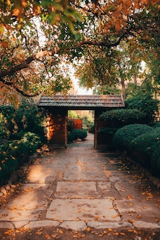 Bela vista da natureza hipnotizante nos jardins japoneses de adelaide himeji de estilo tradicional