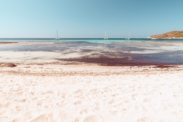 Bela vista da praia de platja de ses salines em ibiza, espanha