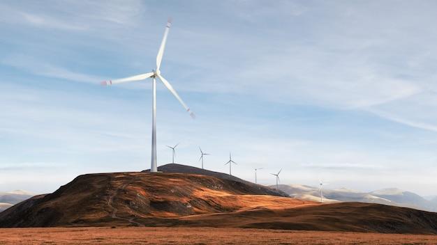 Bela vista das turbinas eólicas em uma paisagem de campo. gerador de energia do vento