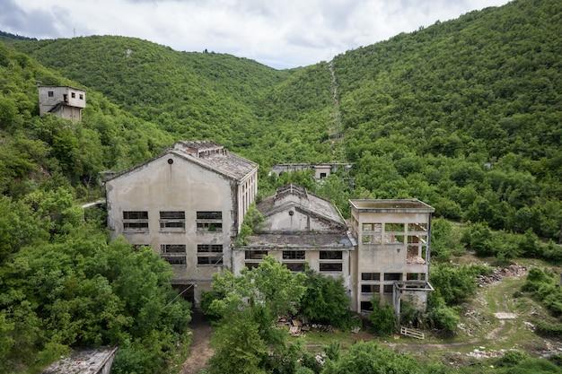 Bela vista de um prédio abandonado cercado por plantas verdes
