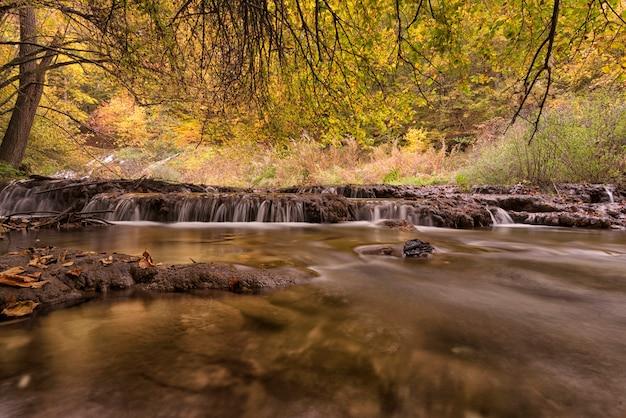 Bela vista de um rio com uma cachoeira na floresta
