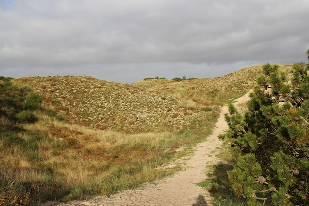 Bela vista de uma estrada que atravessa as colinas desertas capturadas sob o céu nublado
