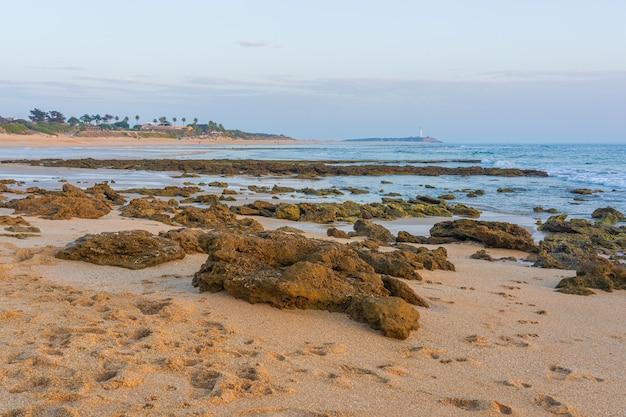 Bela vista de uma praia de areia em zahora, espanha