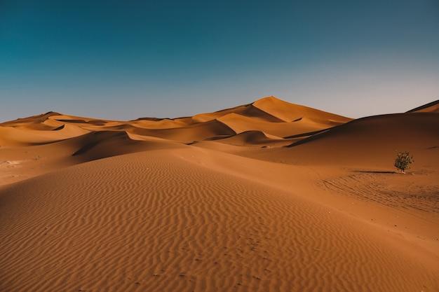 Bela vista do deserto tranquilo sob o céu claro capturado em marrocos