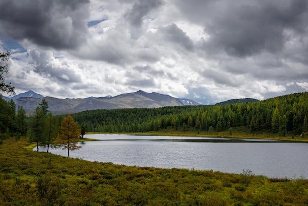 Bela vista do lago de montanha no início do outono em altai, sibéria.