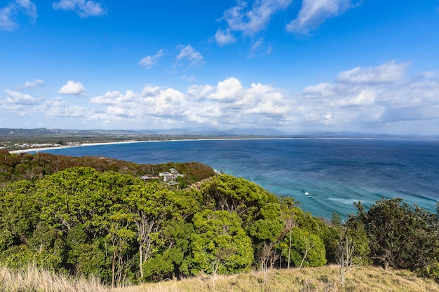 Bela vista do litoral de byron bay. nova gales do sul, costa leste da austrália.