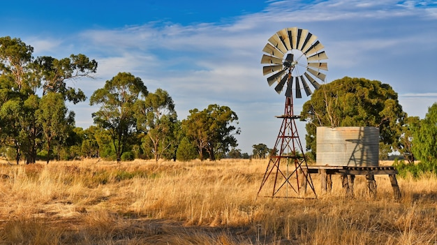 Bela vista do moinho de vento e do tanque de água em um campo de trigo dourado