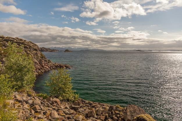 Bela vista dos fiordes noruegueses com águas turquesas rodeadas por céu nublado