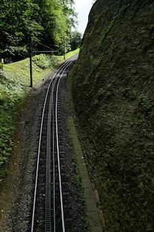 Bela vista dos trilhos da ferrovia