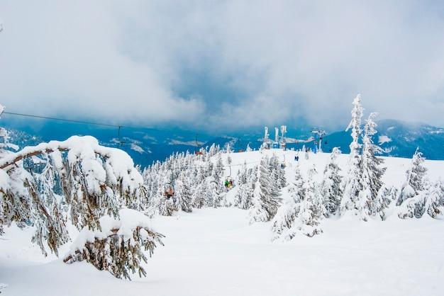 Bela vista inferior dos funiculares localizados acima de uma pitoresca encosta coberta de neve com árvores em um dia nublado de inverno.