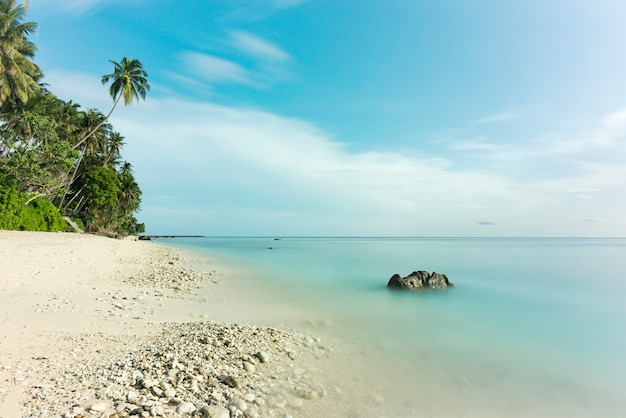 Bela vista longa exposição na praia, areia branca, coqueiro e lindo céu azul