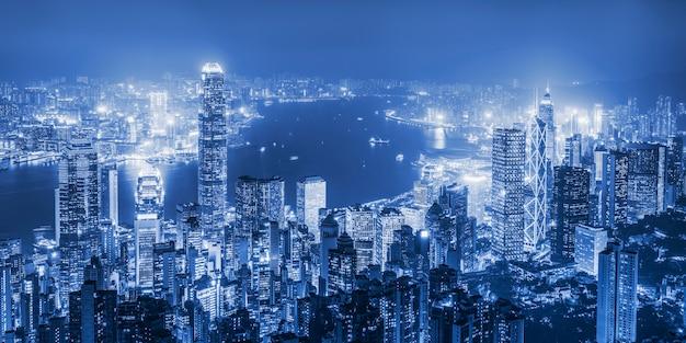 Bela vista noturna de hong kong