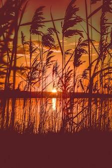 Bela vista panorâmica do pôr do sol vermelho sobre um lago