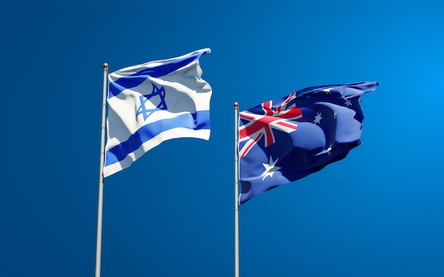 Belas bandeiras de estados nacionais de israel e austrália juntas