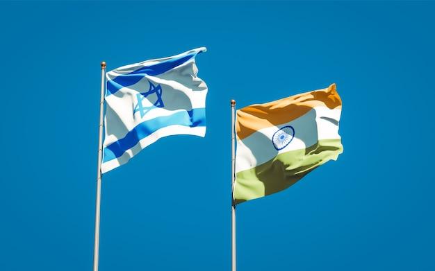Belas bandeiras de estados nacionais de israel e índia juntas