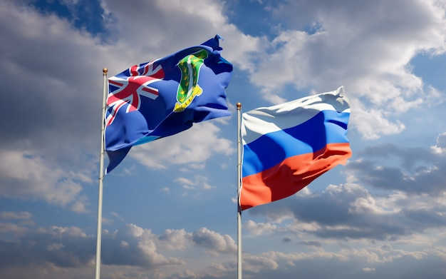 Belas bandeiras do estado nacional da rússia e das ilhas virgens britânicas juntas no céu azul. arte 3d