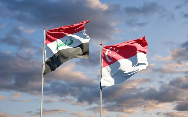 Belas bandeiras dos estados do iraque e cingapura juntos