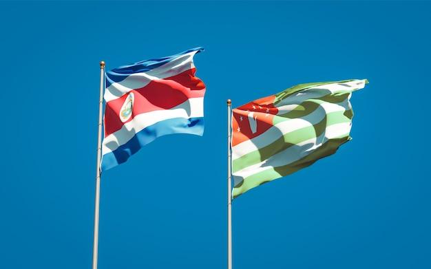 Belas bandeiras estaduais da abkházia e da costa rica juntas