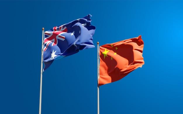 Belas bandeiras estaduais da china e da austrália juntas no céu