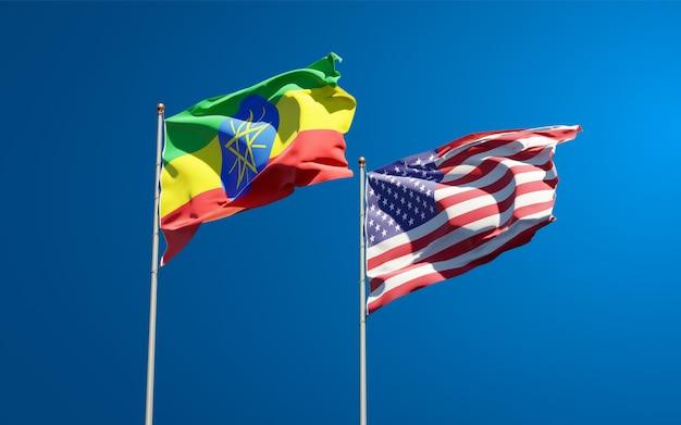 Belas bandeiras estaduais da etiópia e dos eua juntas