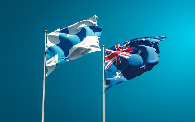 Belas bandeiras estaduais da finlândia e da austrália juntas