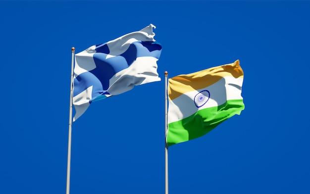 Belas bandeiras estaduais da finlândia e da índia juntas