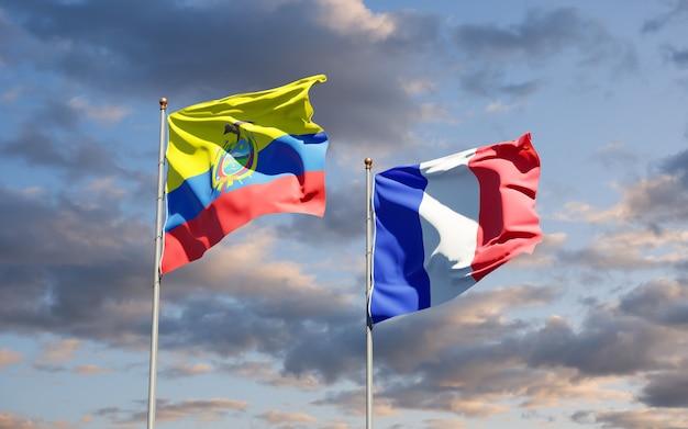 Belas bandeiras estaduais da frança e do equador juntas no céu