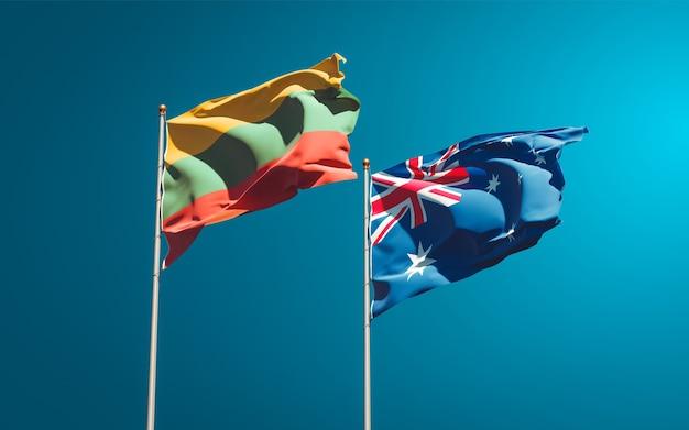 Belas bandeiras estaduais da lituânia e da austrália juntas