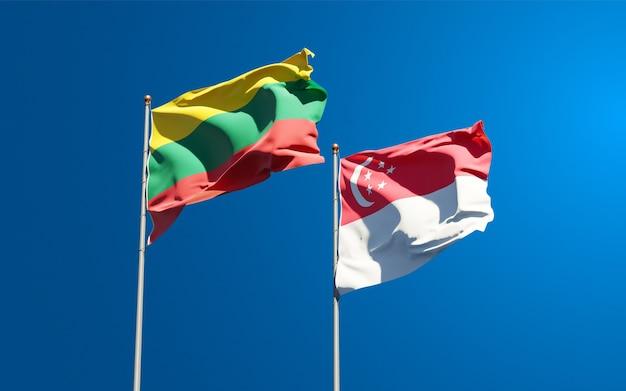 Belas bandeiras estaduais da lituânia e de cingapura juntas