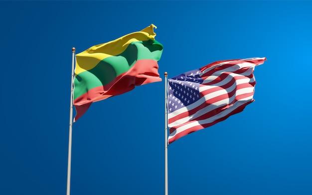 Belas bandeiras estaduais da lituânia e dos eua juntas