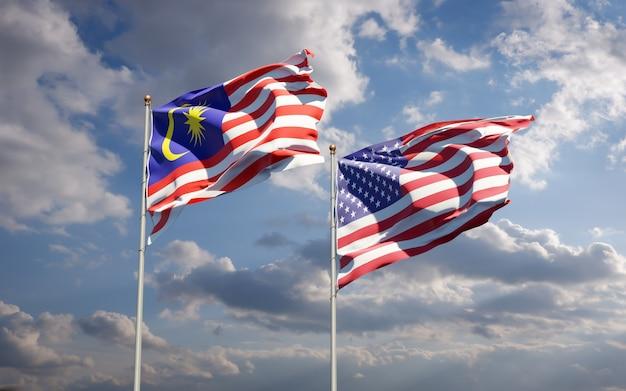 Belas bandeiras estaduais da malásia e dos eua juntas